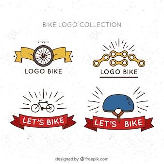 Pack dibujado a mano de logos de bicicletas