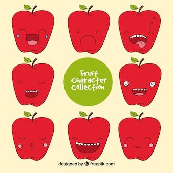 Pack dibujado a mano de personaje de manzana con caras expresivas
