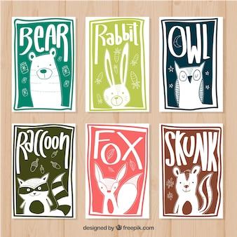 Pack dibujado a mano de tarjetas de animales con estilo moderno