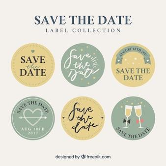 Pack divertido de etiquetas de boda circulares