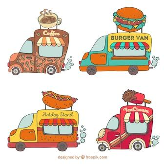 Pack divertido de food trucks dibujados a mano