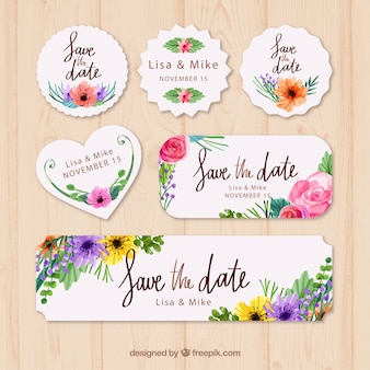 Pack en acuarela de etiquetas florales de boda
