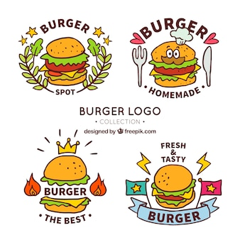 Pack fantástico de logos de hamburguesa dibujados a mano