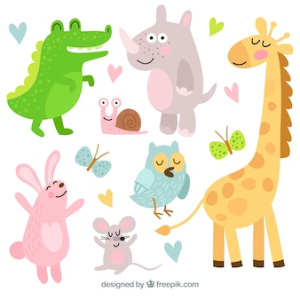 Pack feliz de animales con estilo de dibujo animado