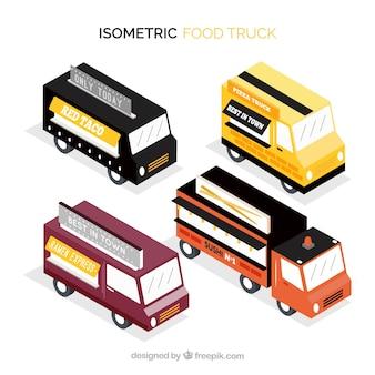 Pack isométrico de food trucks modernos
