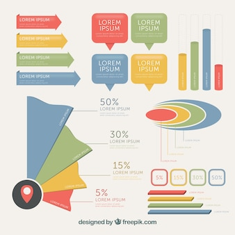 Pack moderno de elementos de colores para infografías