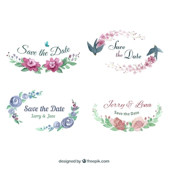 Pack moderno de etiquetas florales en acuarela
