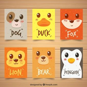 Pack moderno de tarjetas con caras de animales