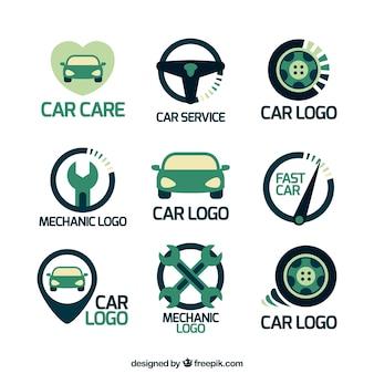 Pack plano con variedad de logos de coches