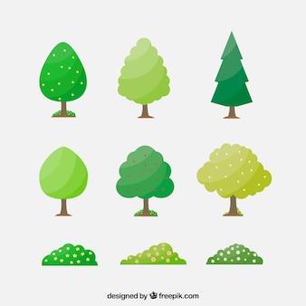 Pack plano de árboles y arbustos