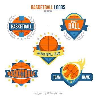 Pack plano de cinco logos de baloncesto decorativos
