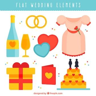 Pack plano de elementos de boda decorativos