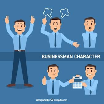 Pack plano de personaje de hombre de negocios