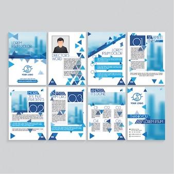 Páginas de revista con detalles azules