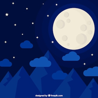 Paisaje azul nocturno con luna