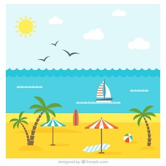 Paisaje con ambiente de verano en diseño plano