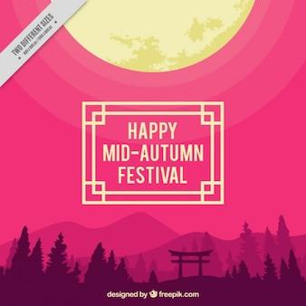 Paisaje con fondo morado para celebrar el festival del medio otoño