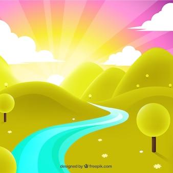 Paisaje con la salida del sol