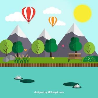 Paisaje con montañas en diseño plano