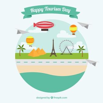 Paisaje con monumentos para un feliz día del turismo