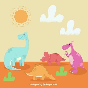 Paisaje con simpáticos dinosaurios
