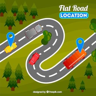 Paisaje con vehículos en la carretera