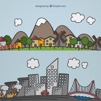 Paisaje de ciudad y pueblo dibujado a mano