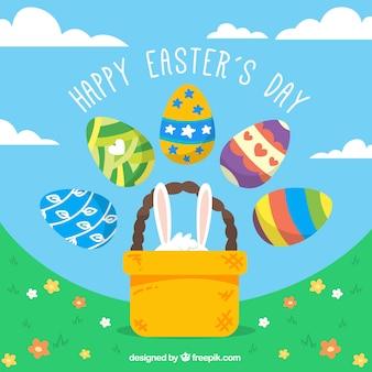 Paisaje de feliz día de Pascua