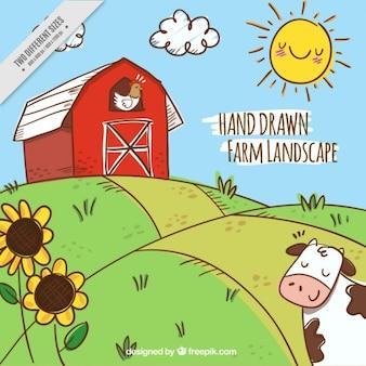 Paisaje de granja a color dibujado a mano