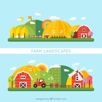 Paisaje de granja plano