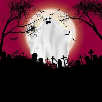Paisaje de halloween con figura fantasmal y cementerio