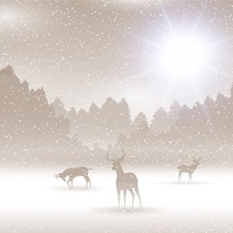 Paisaje de invierno con ciervos