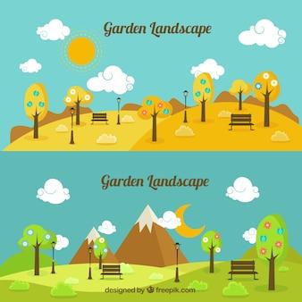 Paisaje de jardín de día y de noche