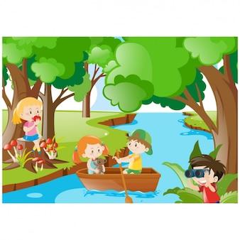 Paisaje de jungla con niños