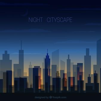 Paisaje de la ciudad de noche transparente