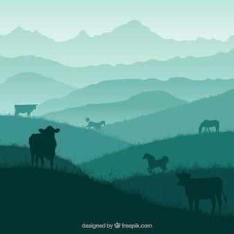 Paisaje de la naturaleza con los animales