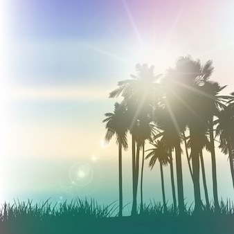 Paisaje de palmeras con un efecto vintage