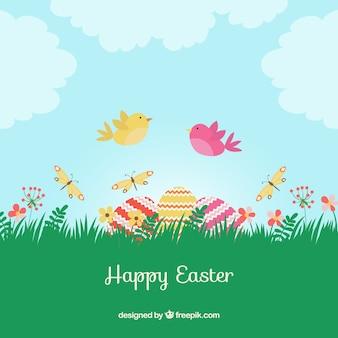 Paisaje de primavera el día de Pascua
