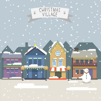 Paisaje de pueblo navideño