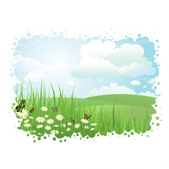 Paisaje de verano con mariposas y margaritas en la hierba