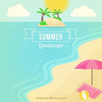 Paisaje de verano de la playa