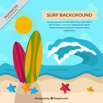 Paisaje de verano de surf