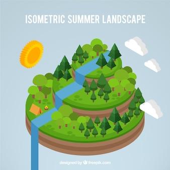Paisaje de verano isométrico