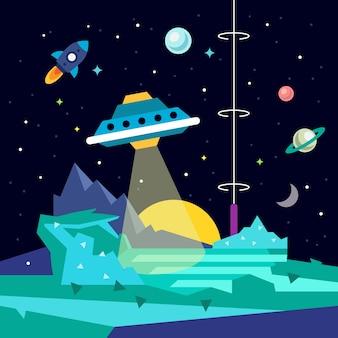 Paisaje extranjero del planeta del espacio con ufo