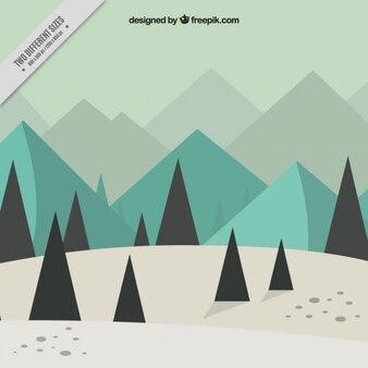Paisaje flat de invierno con pinos y montañas