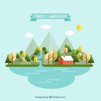 Paisaje forestal en diseño plano