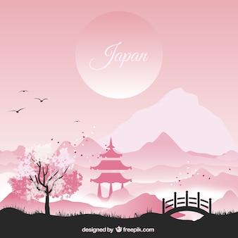 Paisaje japonés en tonos rosados