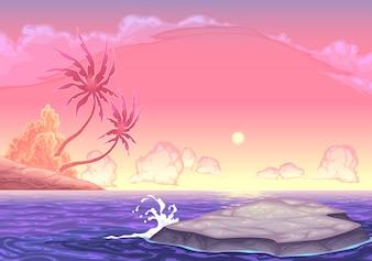 Paisaje marino romántica en la ilustración de dibujos animados de vectores puesta de sol