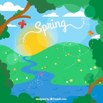 Paisaje primaveral de dibujo animado