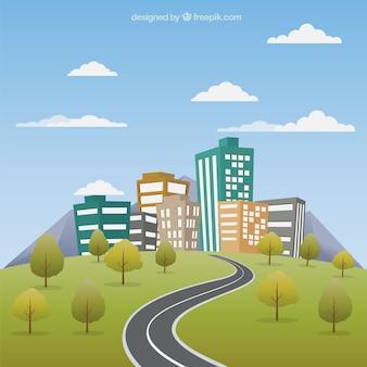 Paisaje urbano con carretera
